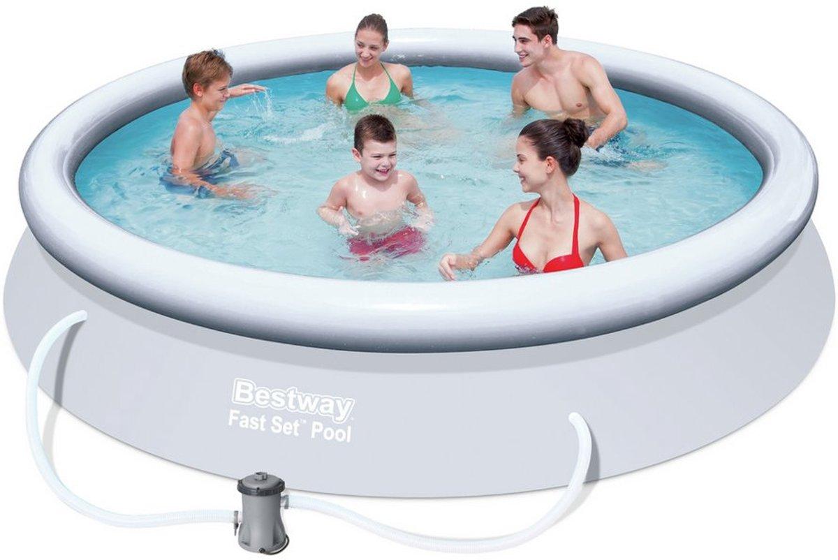Bestway Fast Set Opblaasbaar Zwembad - 305x76cm- inclusief 12V Filterpomp + Afdekhoes