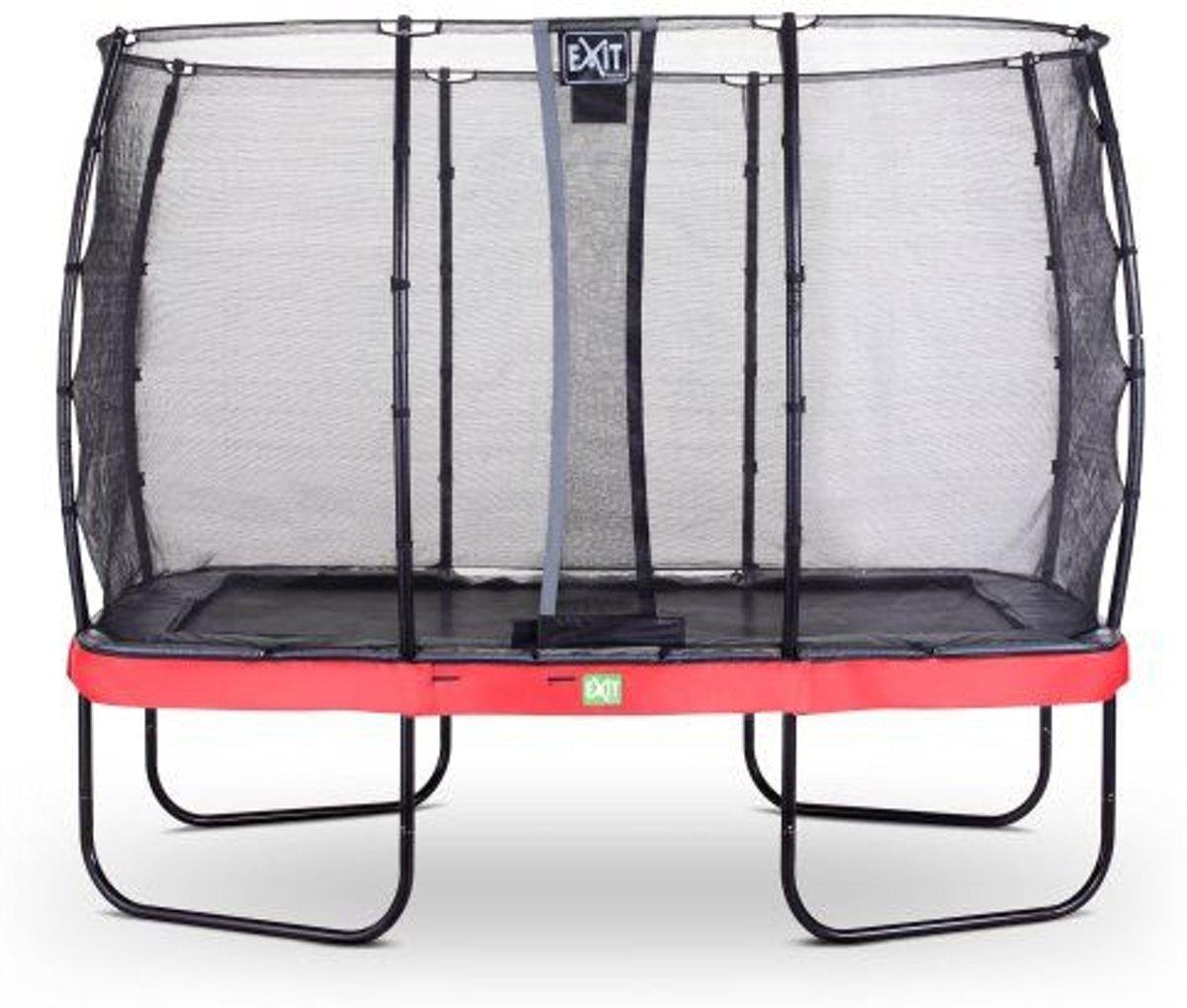 EXIT Elegant trampoline 214x366cm met net Deluxe - rood