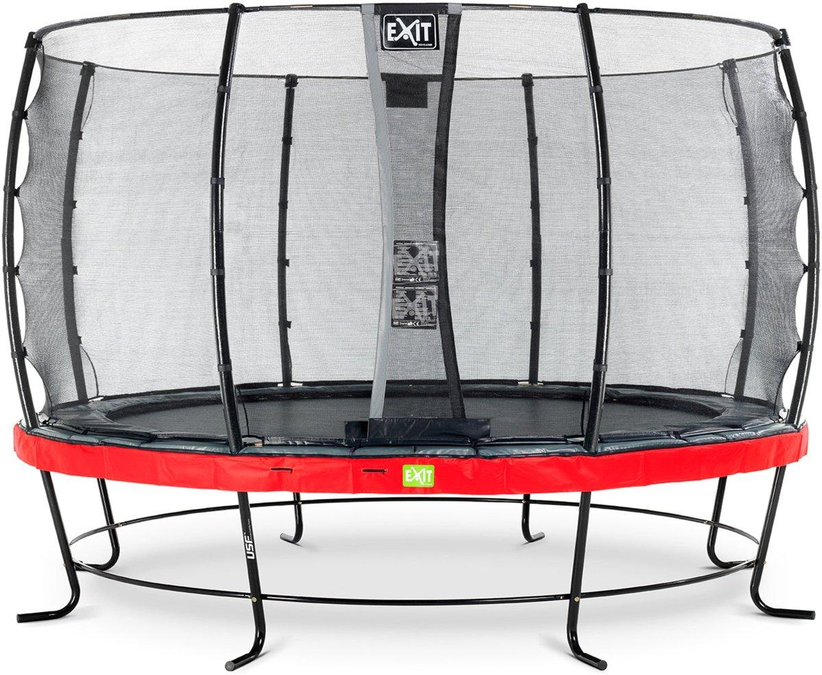 EXIT Elegant trampoline ø427cm met veiligheidsnet Economy - rood