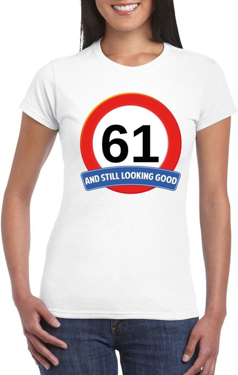 Verkeersbord 61 jaar t-shirt wit dames L