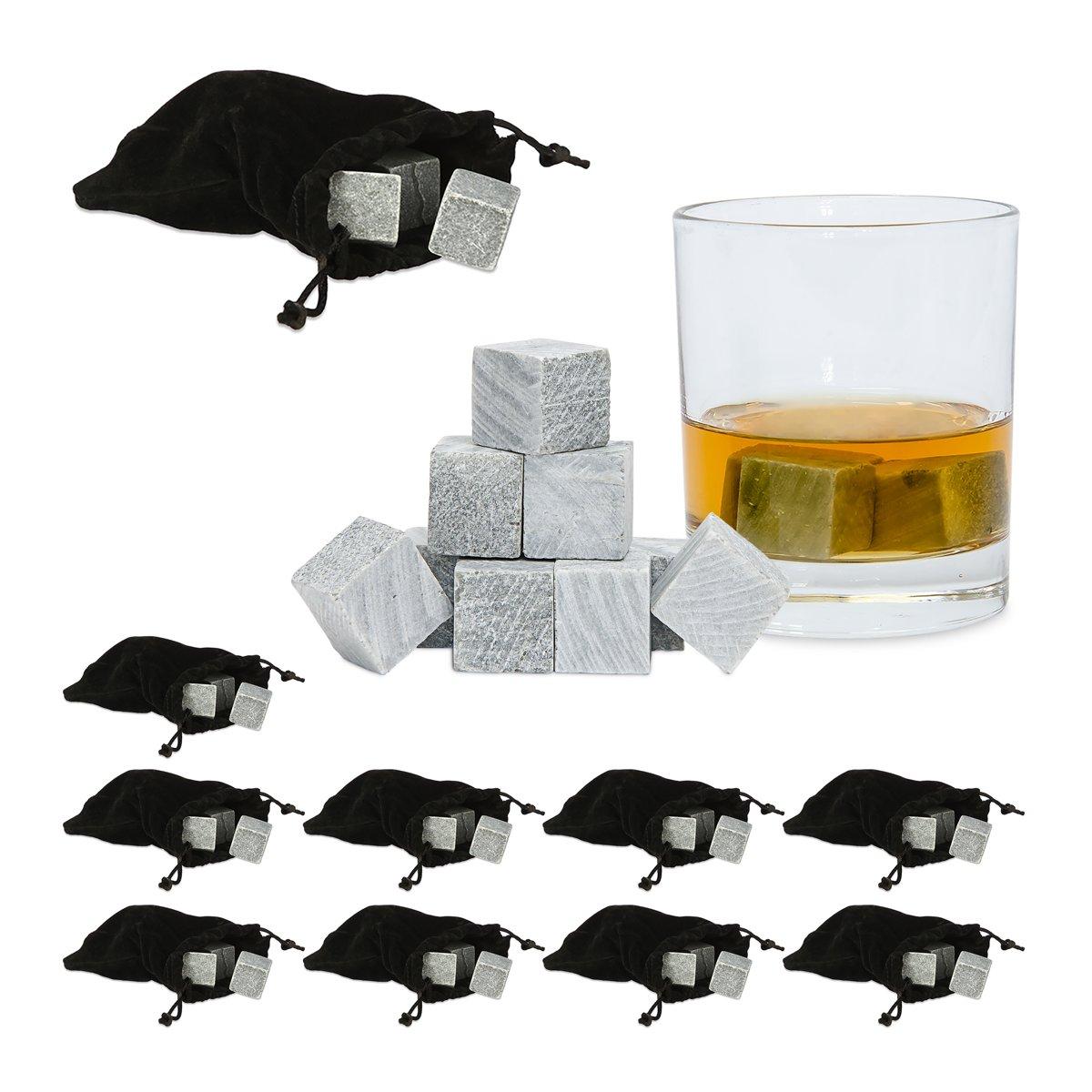 relaxdays 90 x whiskey stenen, whiskey stones, grijs, ijsklontjes, smaakloos, stofzak kopen