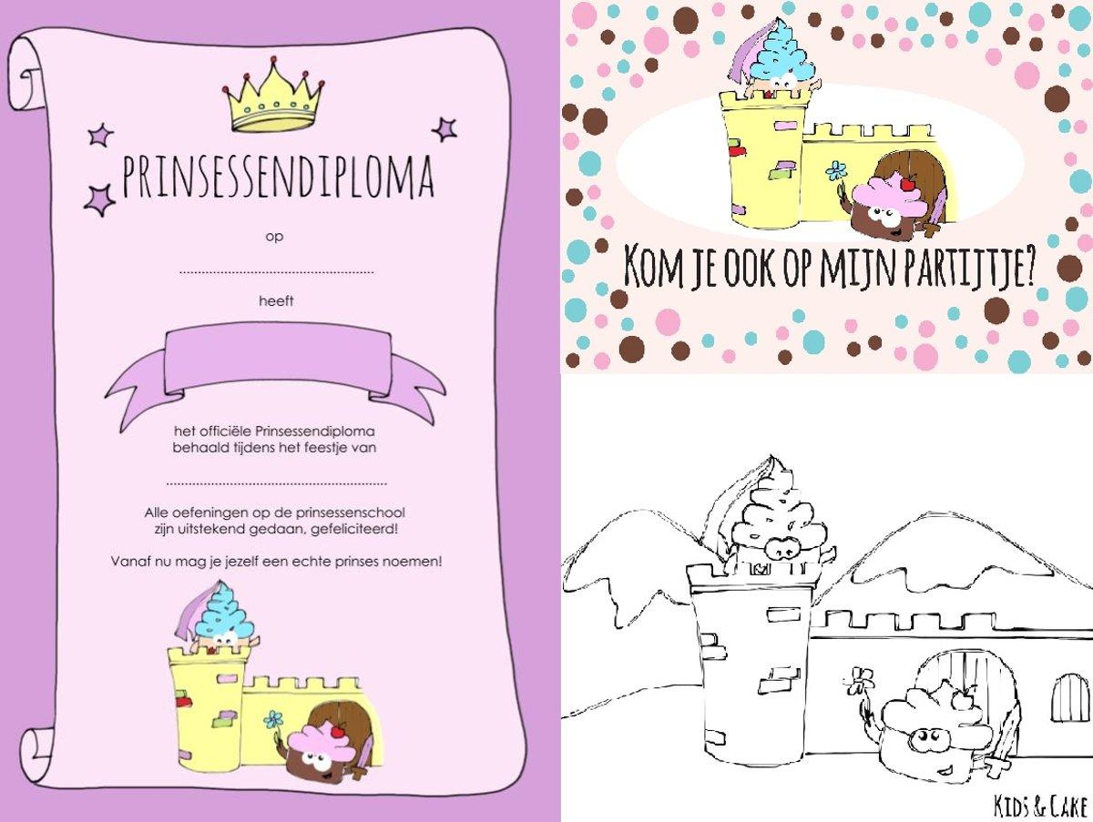 Kleurplaten Prinsessen A4 Formaat.Prinsessenpakket Kinderfeestje 8 Prinsessen Uitnodigingen 8