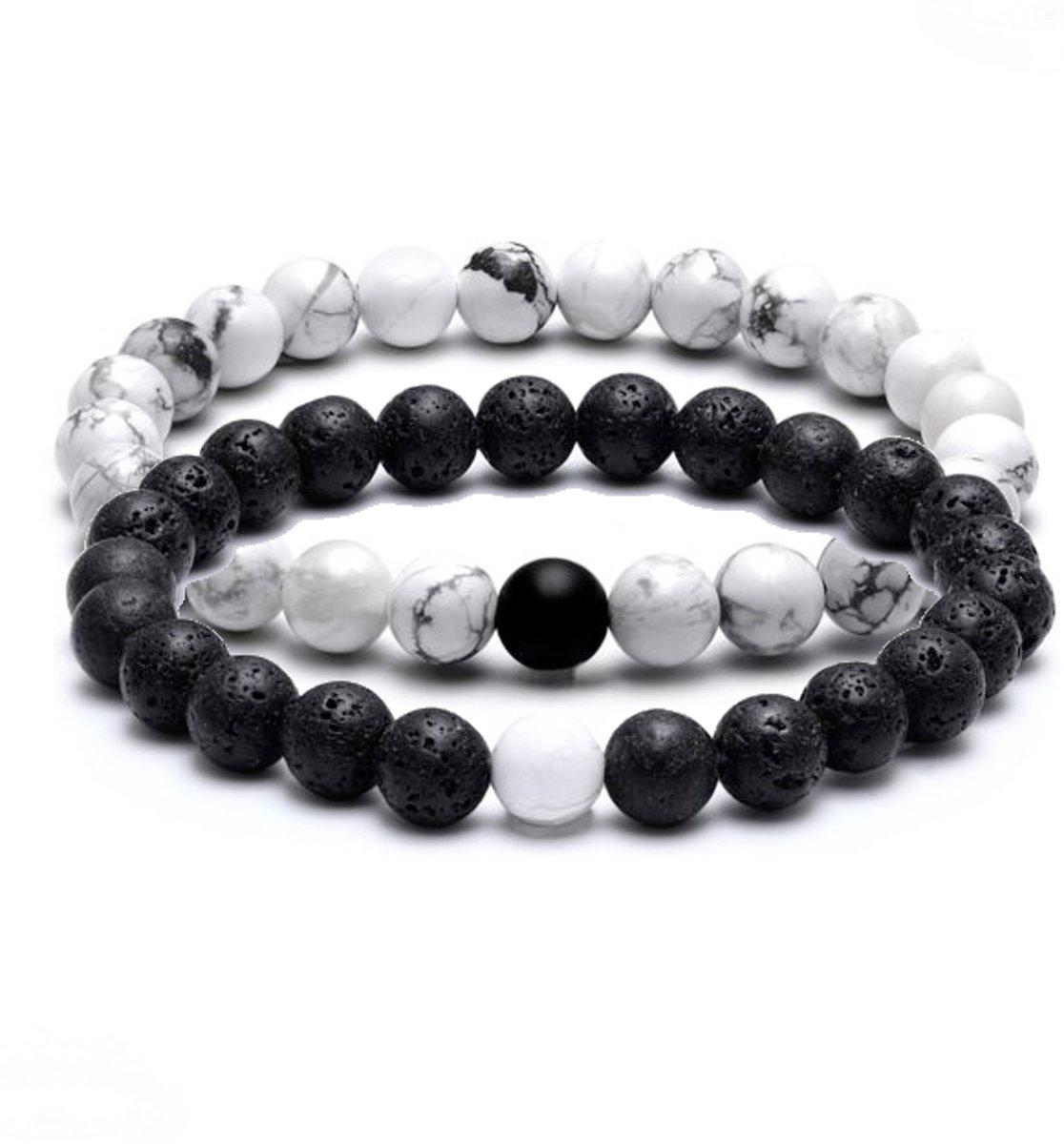 daytodaylooks - Natuursteen armband - Heren - Set van 2 - Wit/zwart kopen