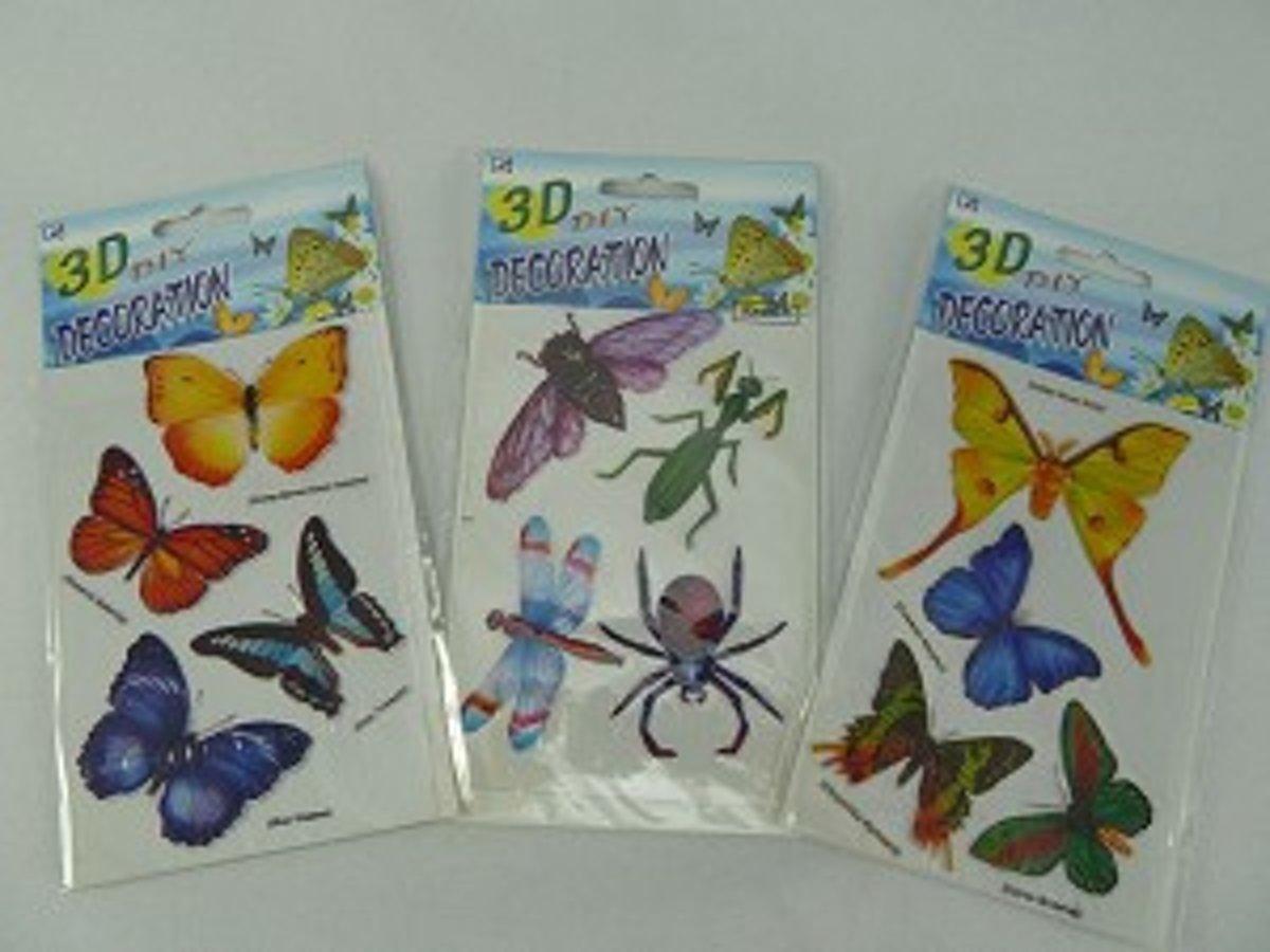 3d decoration assortie:vlinders en insecten per 3 pakjes kopen