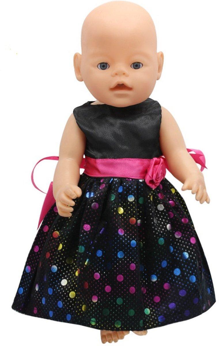 Poppenkleding - Jurkje voor de pop - Baby born jurk - Zwart met bloemetje en kleurtjes
