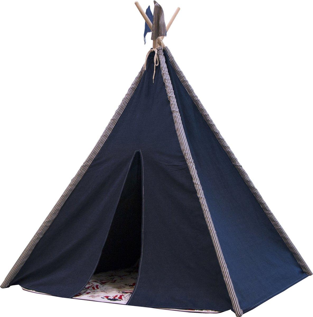 Nautic Teepee Tent met Kleed & 2 Vlaggetjes - Tipi Tent - Blauw - FSC houten palen