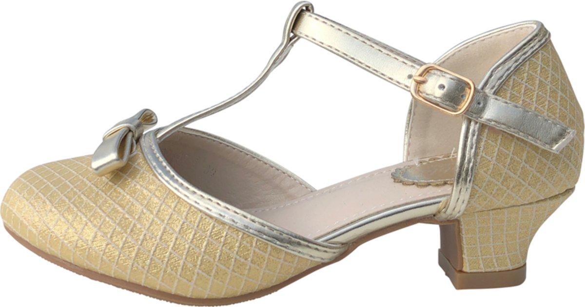 650c7a66769 Spaanse Prinsessen schoenen met strikje goud glamour - bruids schoenen -  communie - maat 33 (binnenmaat 21,5 cm)