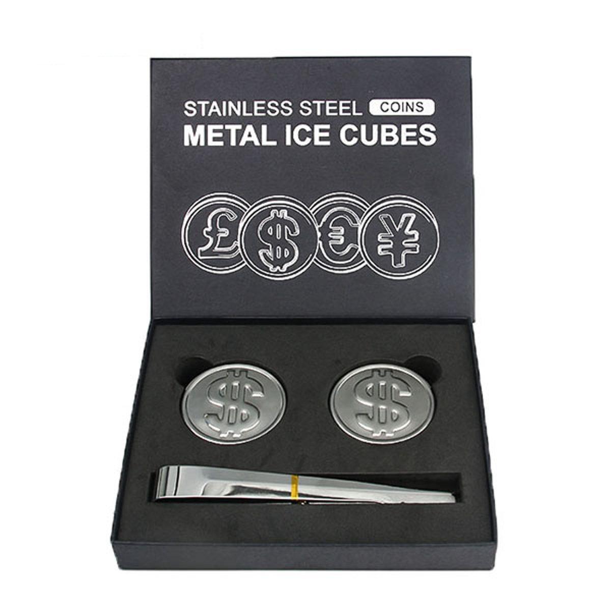 Whiskey stenen (2 stuks + tang) - RVS whiskey stones - accessoires - gadgets – ijsblokjes - leuk als cadeau voor een whisky liefhebber! kopen