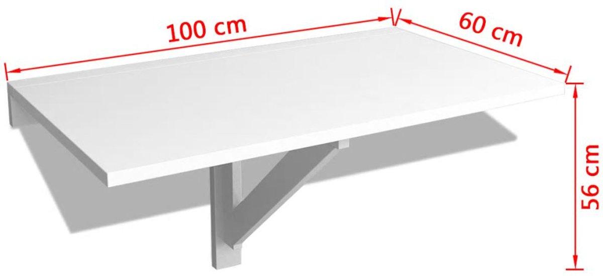 Inklapbare Tafel Aan De Muur.Vidaxl Wandtafel Inklapbaar 100x60 Cm Wit
