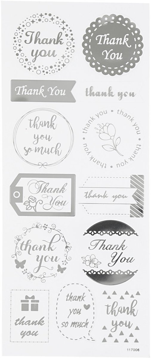 Creotime Stickers Thank You Zilver 10 X 24 Cm 13-delig