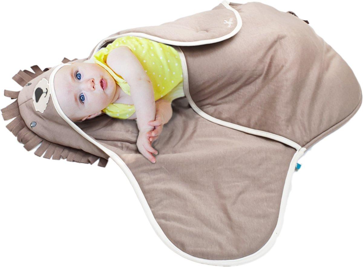 Wallaboo Babydeken Coco - handige wikkeldeken en wrapper - zacht katoen - geschikt voor autostoel, kinderwagen, ledikant en box - pasgeboren tot 9 mnd - formaat: 70 * 90 cm - kleur: taupe leeuwtaupe kopen