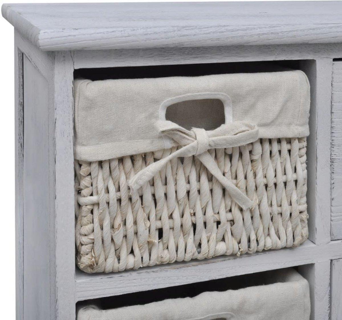 Kast Met Mandjes : Bol vidaxl opbergkast met rattan manden hout wit