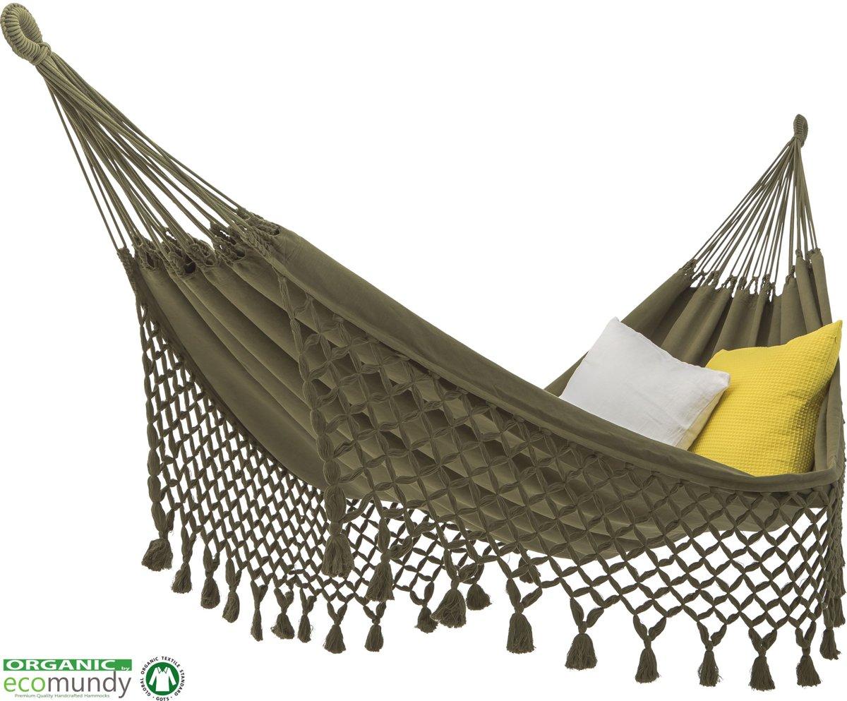 ECOMUNDY ROMANCE XL BIO 380 GROEN - Premium hangmat met franje - tweepersoons - handgeweven - bio katoen - GOTS