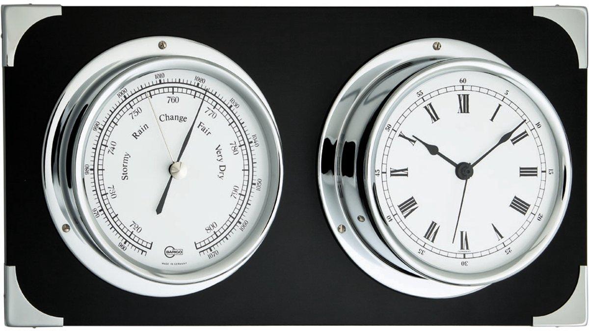 Barigo 2084cr weerstation (barometer en klok) zwart gelakt hout met chroom kopen