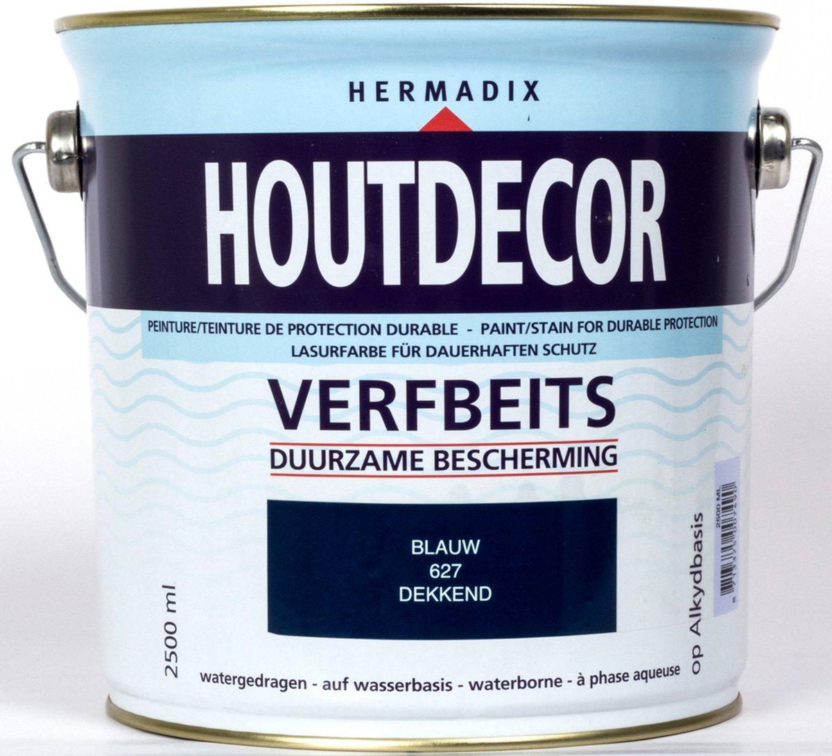 Hermadix Houtdecor Verfbeits dekkend - 2,5 liter - 627 Blauw