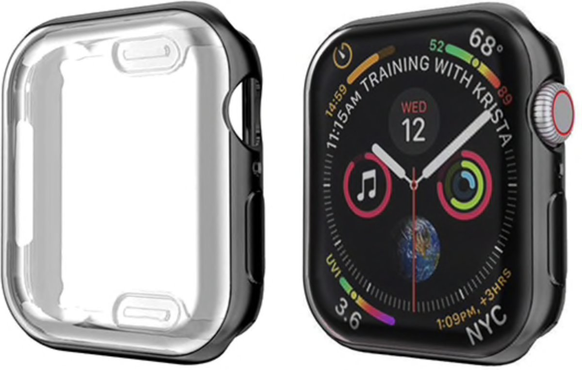 123Watches.nl - Apple Watch slim soft case - zwart - 38mm kopen