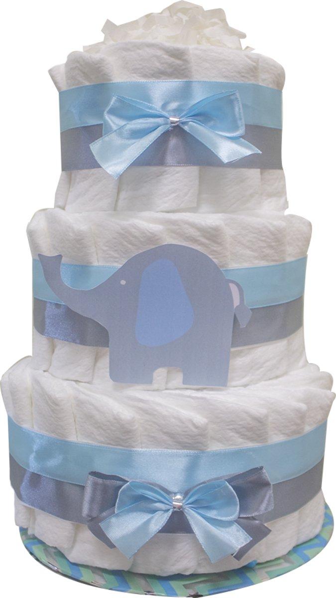 Luiertaart / pampertaart jongens 3-lagen 41 pampers maat 2 (4-8 kg) Kraamcadeau, Babyshower, Geboortecadeau