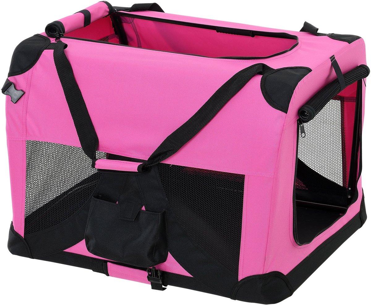 [pro.tec]® Dieren transportbox - reismand - roze - M