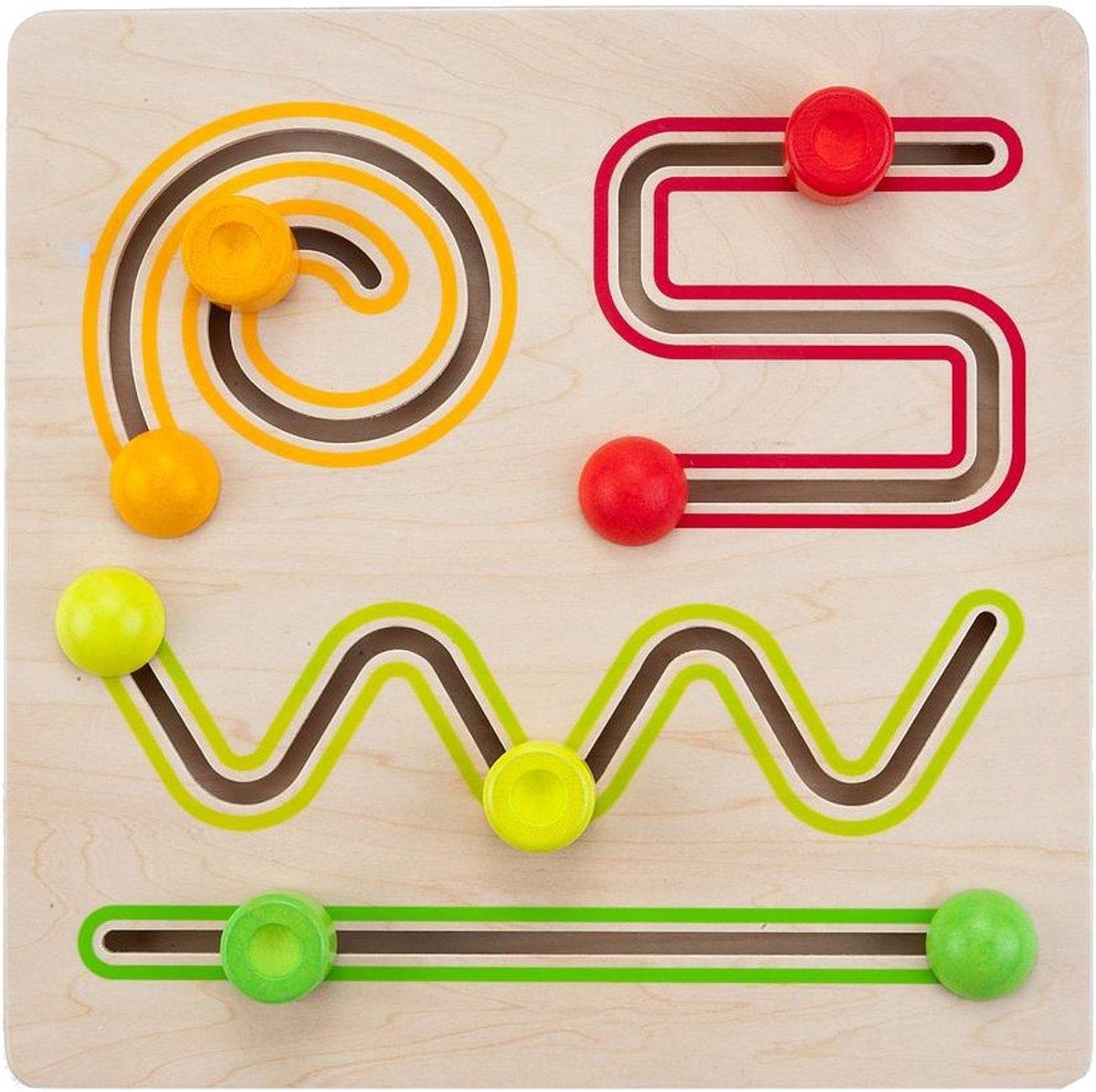 Sliding puzzle 30 x 30 cm 4 shapes rubber wood