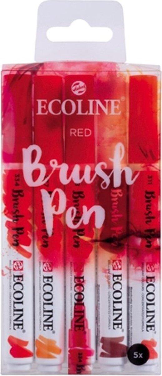 Talens Ecoline Brushpen Set met 5 Pennen (Rood) + 1 Brush Pen Blender verpakt in een handige Zipperbag + 1 x Ecoline/aquarelblok + Basis Boekje Brush/Handlettering