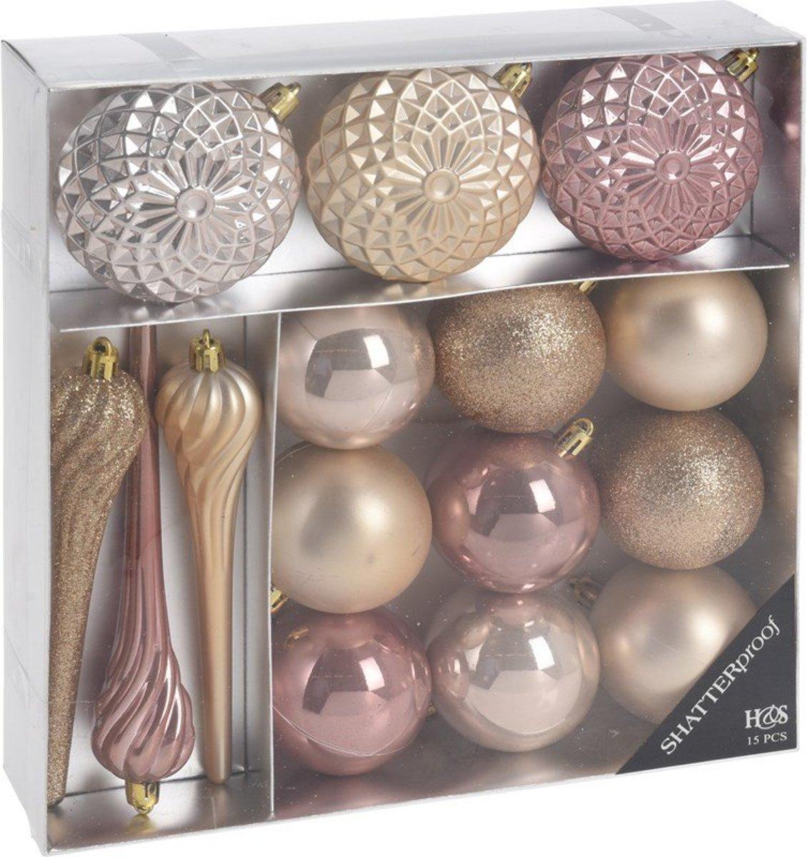 Kerstballen Set-Roze-15 Delig kopen