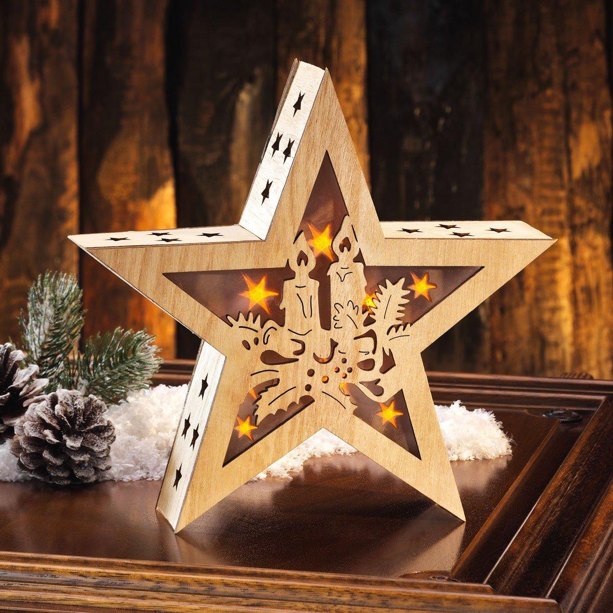 Houten kerstster met licht kopen