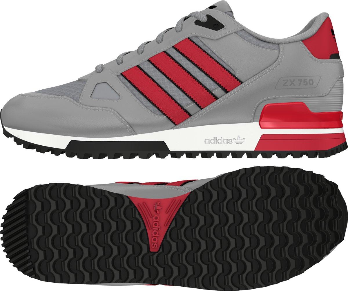 adidas ZX 750 Heren 7,5 Grijs;Rood;Wit;Zwart