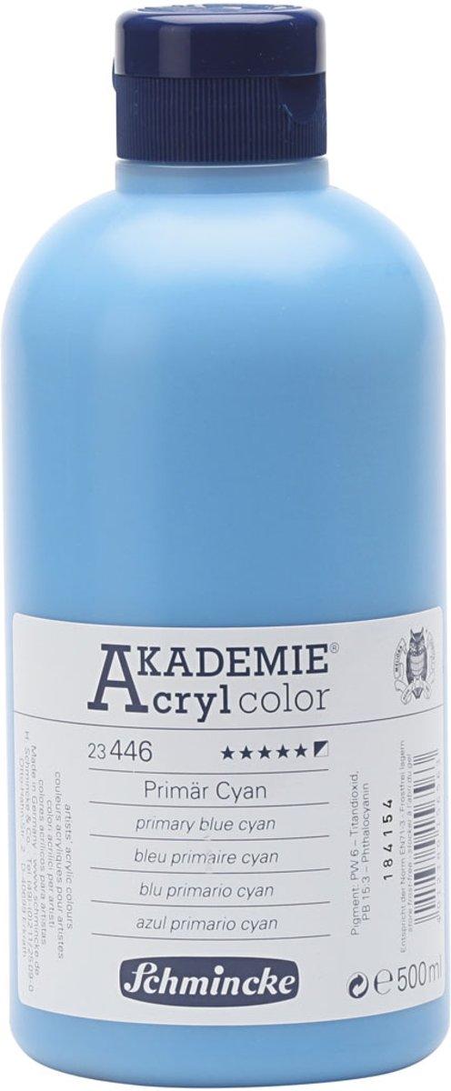 Afbeelding van product Schmincke AKADEMIE® Acryl color, opaque, 500 ml, primary blue cyan (446)