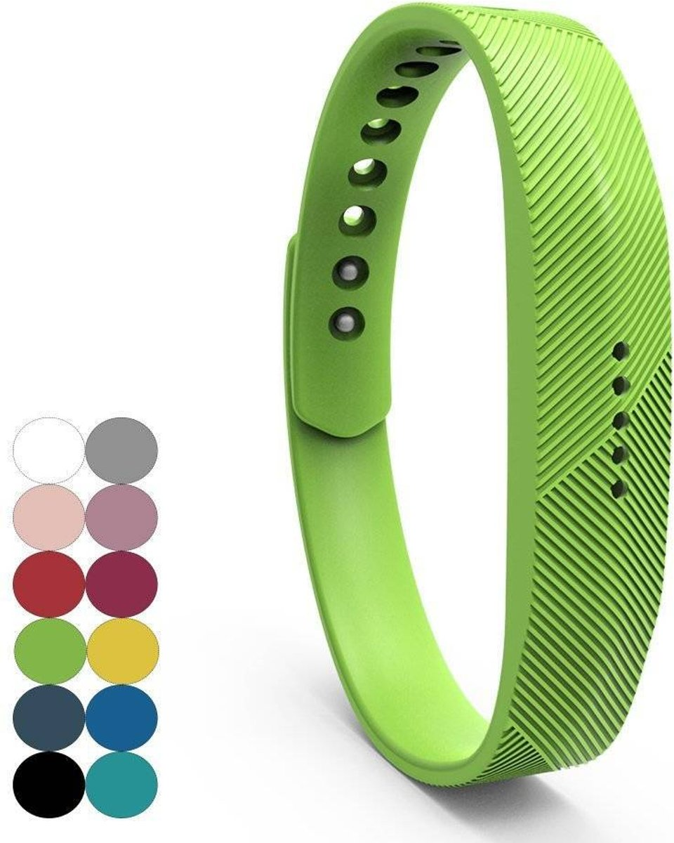 Siliconen sportbandjes voor de Fitbit Flex 2 met druksluiting - Groen kopen