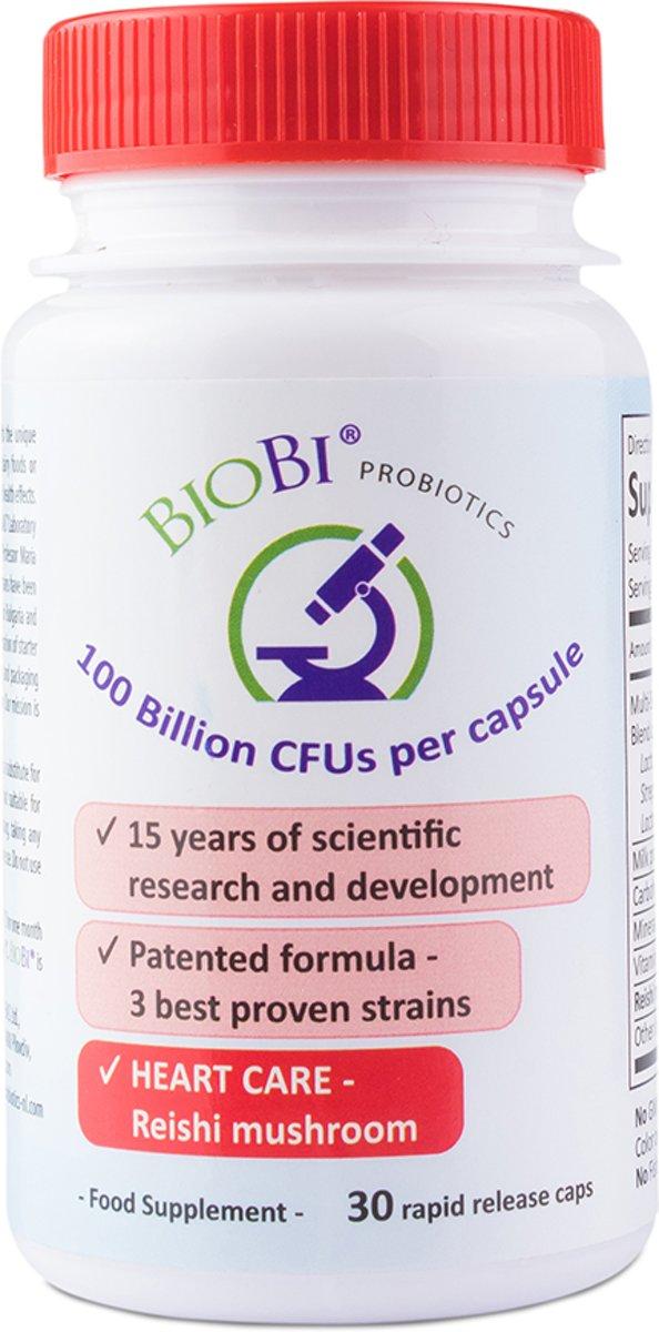 Foto van BioBi Probiotica Heart Care - 100 Miljard CFUs - 30 vegicaps - Reishi Mushroom