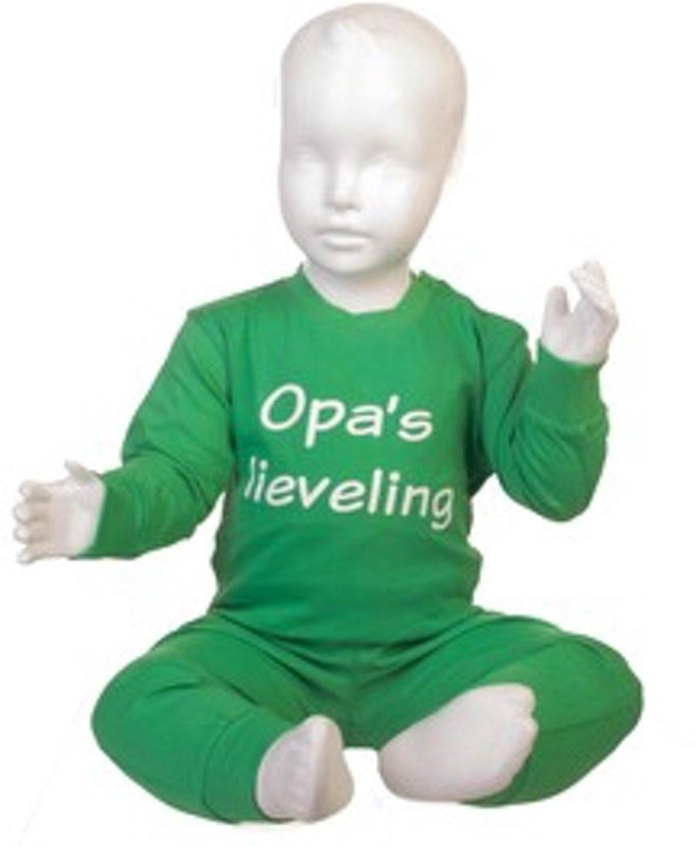 Fun2Wear Pyjama Opa's Lieveling groen maat 116 kopen