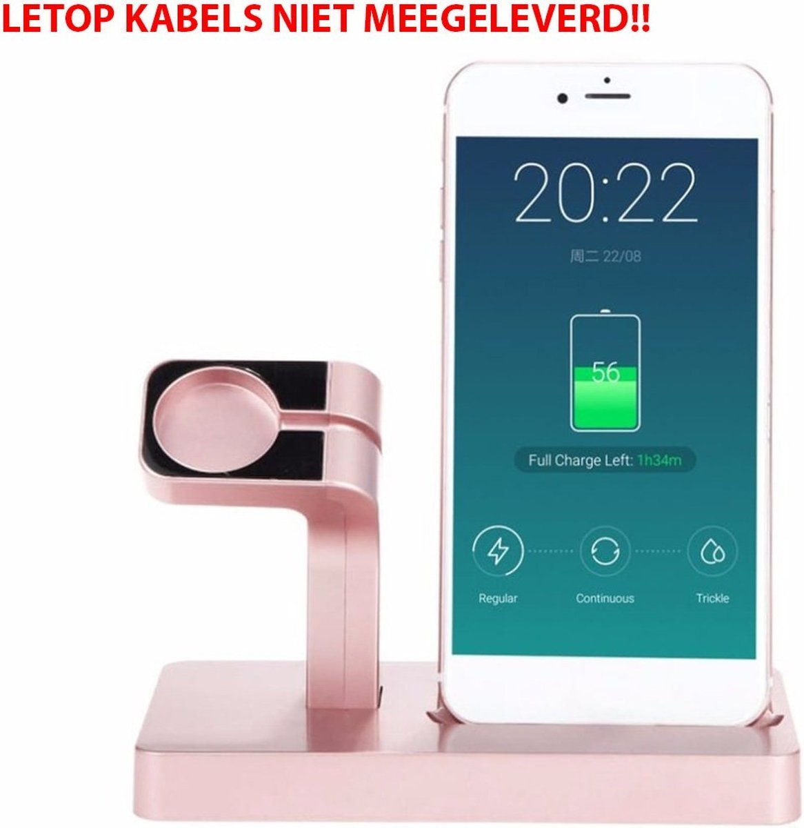 2 in 1 Apple Watch Standaard / Iphone houder voor Apple Watch/ iPhone 6 / 6 Plus /6s / 6s Plus /7  / 8 / 8 plus / Iphone X  Rose Goud Watchbands-shop.nl kopen