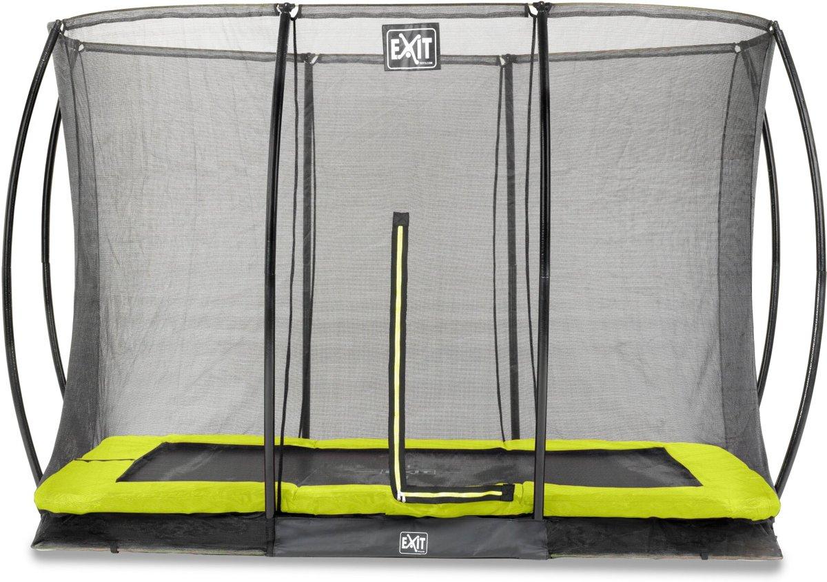 EXIT Silhouette inground trampoline 214x305cm met veiligheidsnet - groen