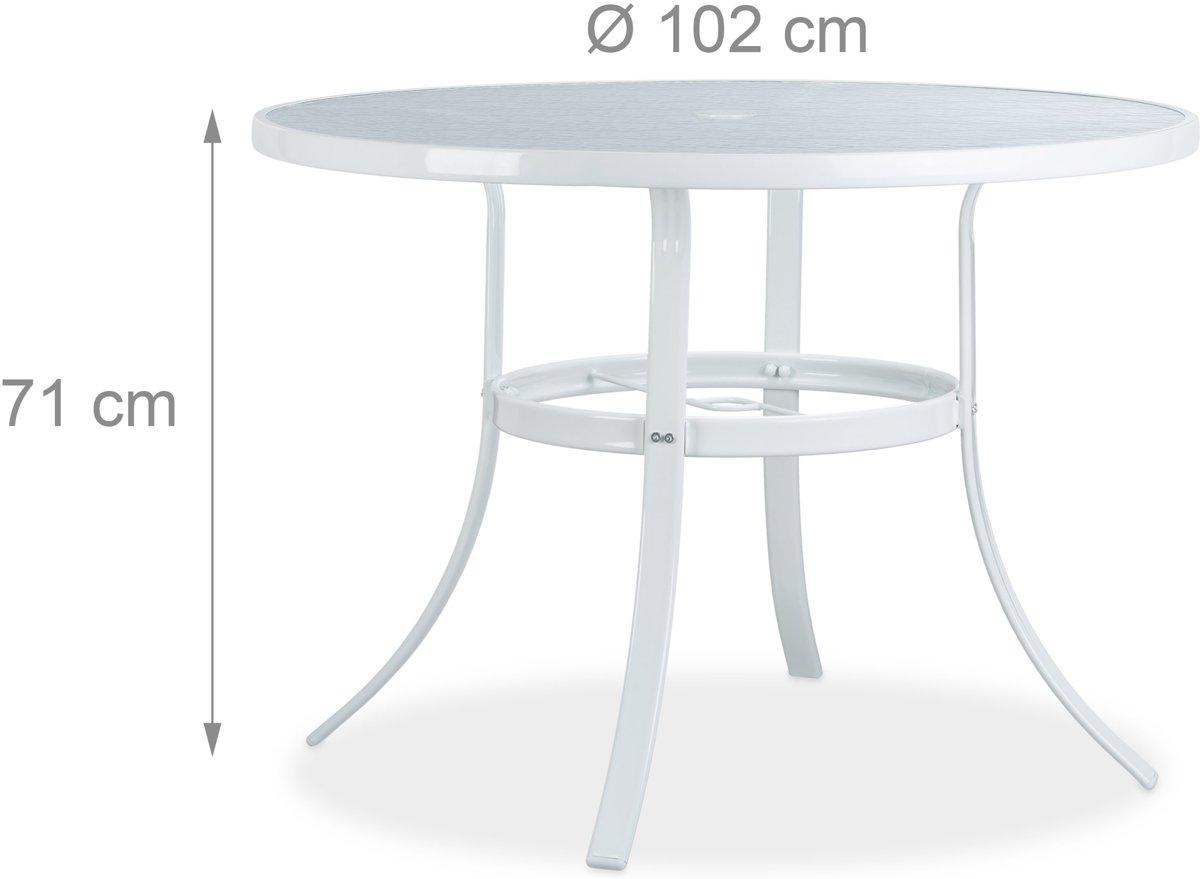 Ronde Aluminium Tuintafel Met Glasplaat.Bol Com Relaxdays Tuintafel Rond Struk 102 Cm Glas Balkontafel