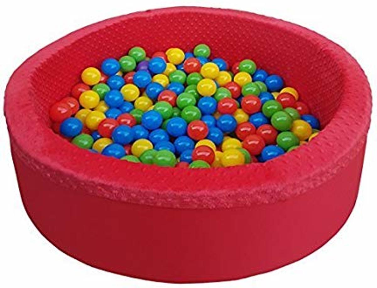 Rode Ballenbad - stevige ballenbak - 90 x 40 cm - 300 ballen - rood blauw geel groen
