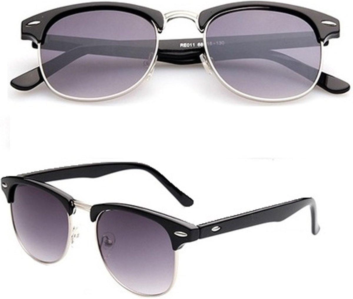 Retro Clubmaster Zonnebril - Black/Silver | Zwart/Zilver | Fashion Favorite