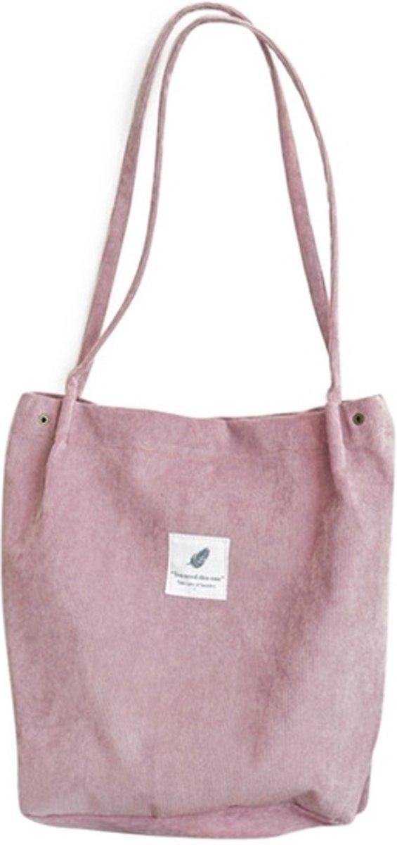 3 STKS hoge capaciteit vrouwen corduroy Tote dames casual schoudertas opvouwbare herbruikbare Shopping strandtas (roze)