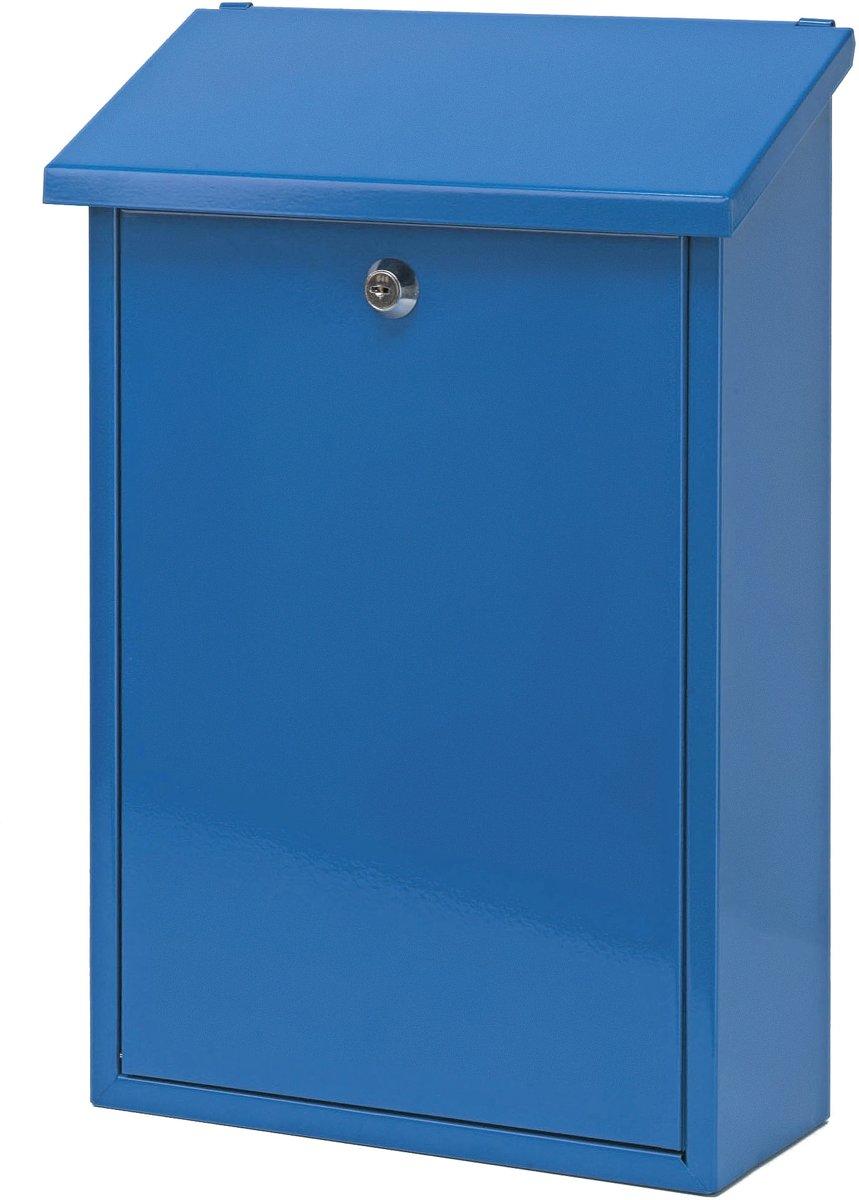 Stalen brievenbus blauw - 27x12x40 cm
