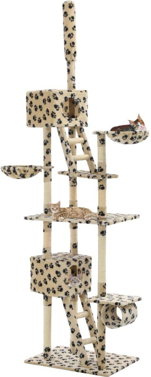 vidaXL Kattenkrabpaal met krabpalen 230-260 cm pootafdrukken beige