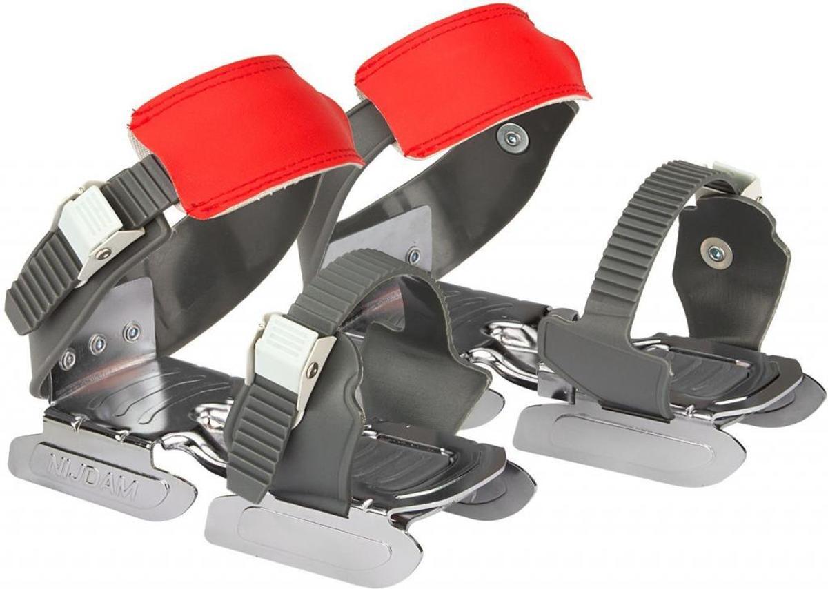 Glij-IJzers Kinder Schaatsen - Verstelbaar Maat 24 tot 35 - Bob Skates - Antraciet / Rood