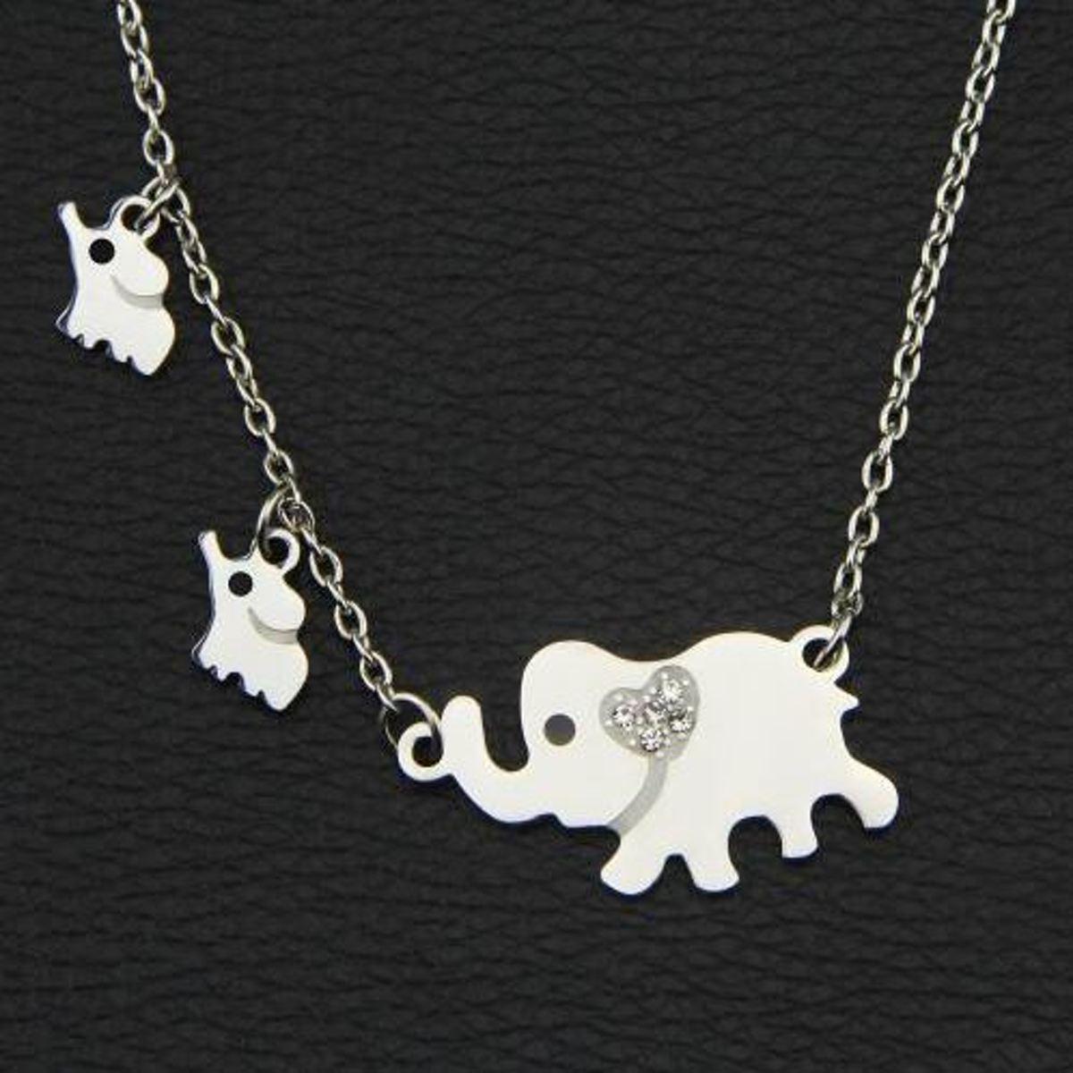 Stalen ketting met moeder olifant en 2 baby olifantjes - mooi cadeau voor mama - verjaardagscadeau moeder kopen