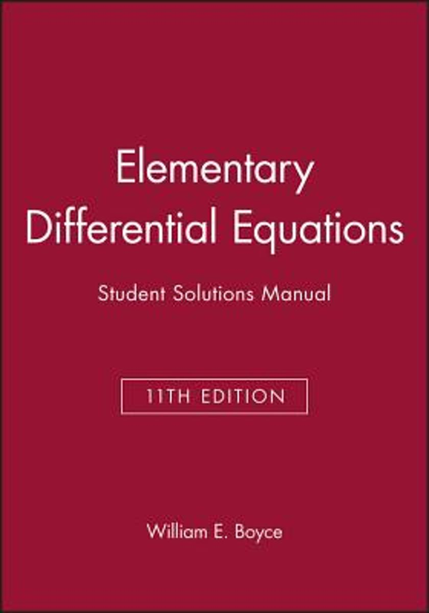 bol.com | Elementary Differential Equations, Eleventh Edition Student  Solutions Manual |.