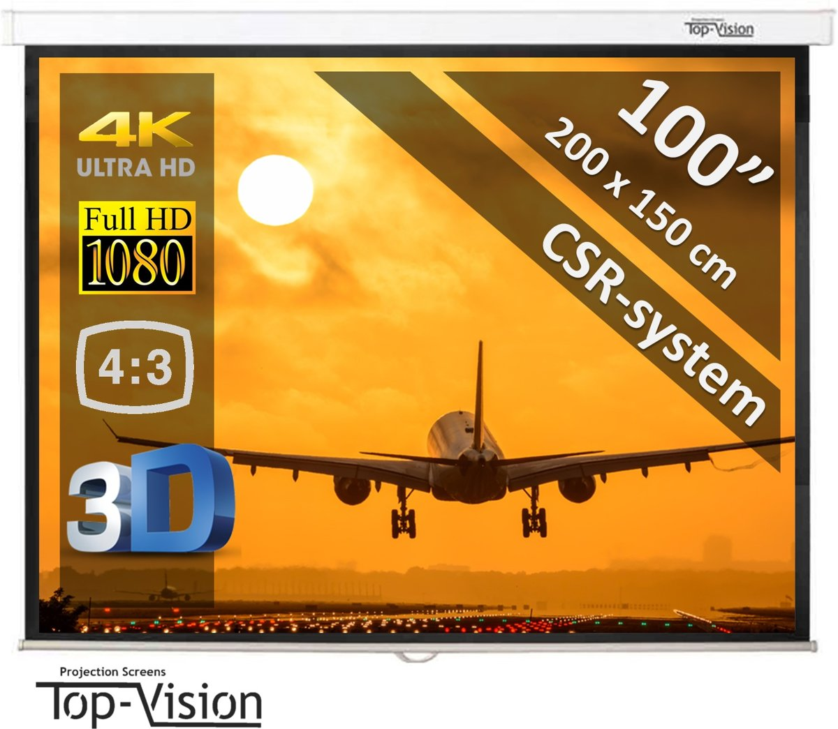 """Manueel Projectiescherm 100"""" (2m54) - 200 x 150 cm - 4:3 - mét CSR syteem kopen"""