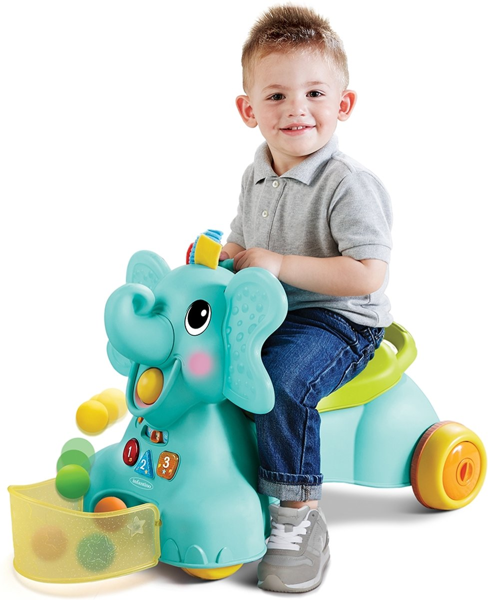 Infantino - Sensory - 3 in 1 Ride On Elephant - Loopfiets - Olifant - Ballenglijbaan