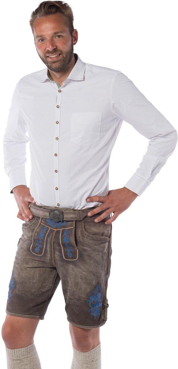 Lederhose voor mannen - Korte lederhosen – Gaudi Blauw - Oktoberfest kleding - 100% leder
