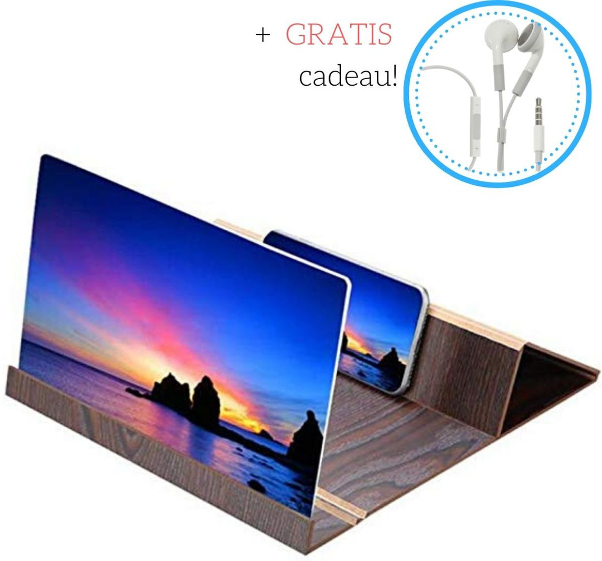 Vergrootglas voor mobiele telefoon - Beeldscherm vergroten van ieder type smartphone - Bruin - Oordopjes Cadeau kopen