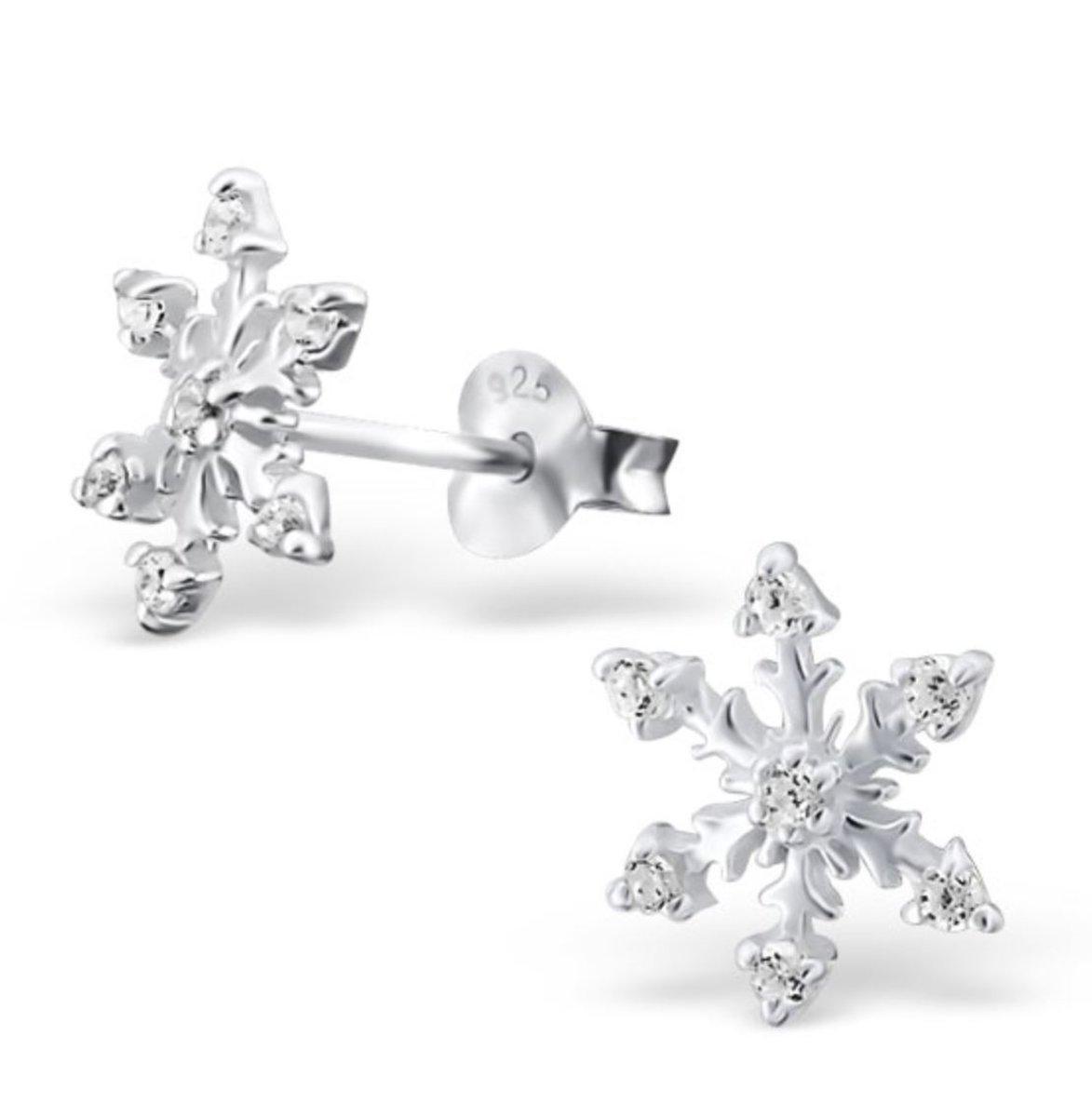 Zilveren Frozen oorstekers - sneeuwvlok zirkonia oorbellen
