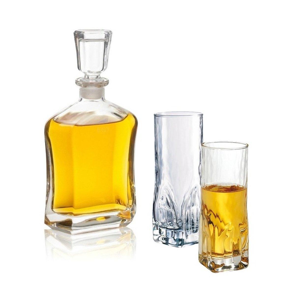 Whiskey set - karaf 0,7 liter en twee hoge whiskey glazen kopen