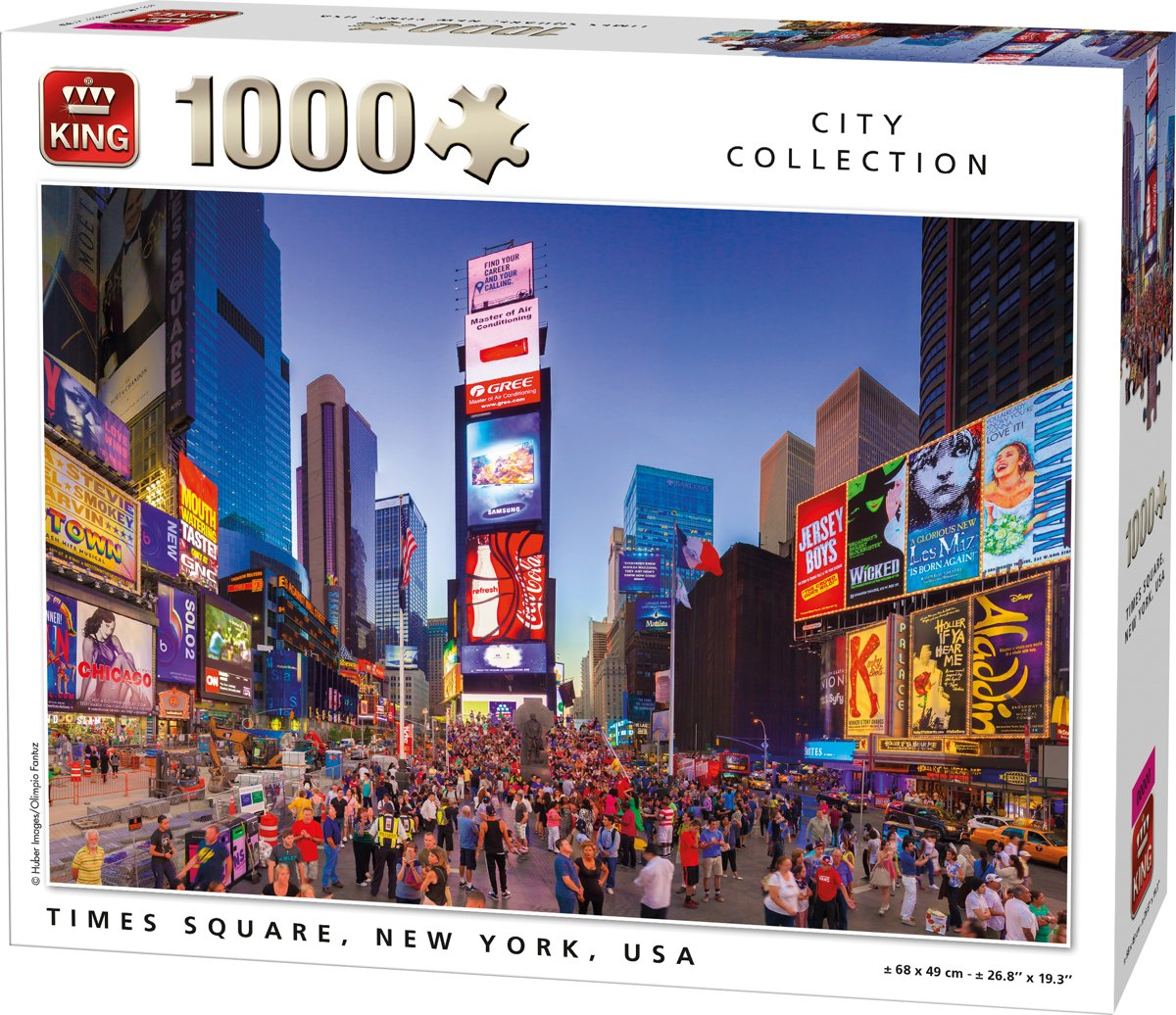 King Puzzel 1000 Stukjes (68 x 49 cm) - Times Square New York - Legpuzzel Steden kopen