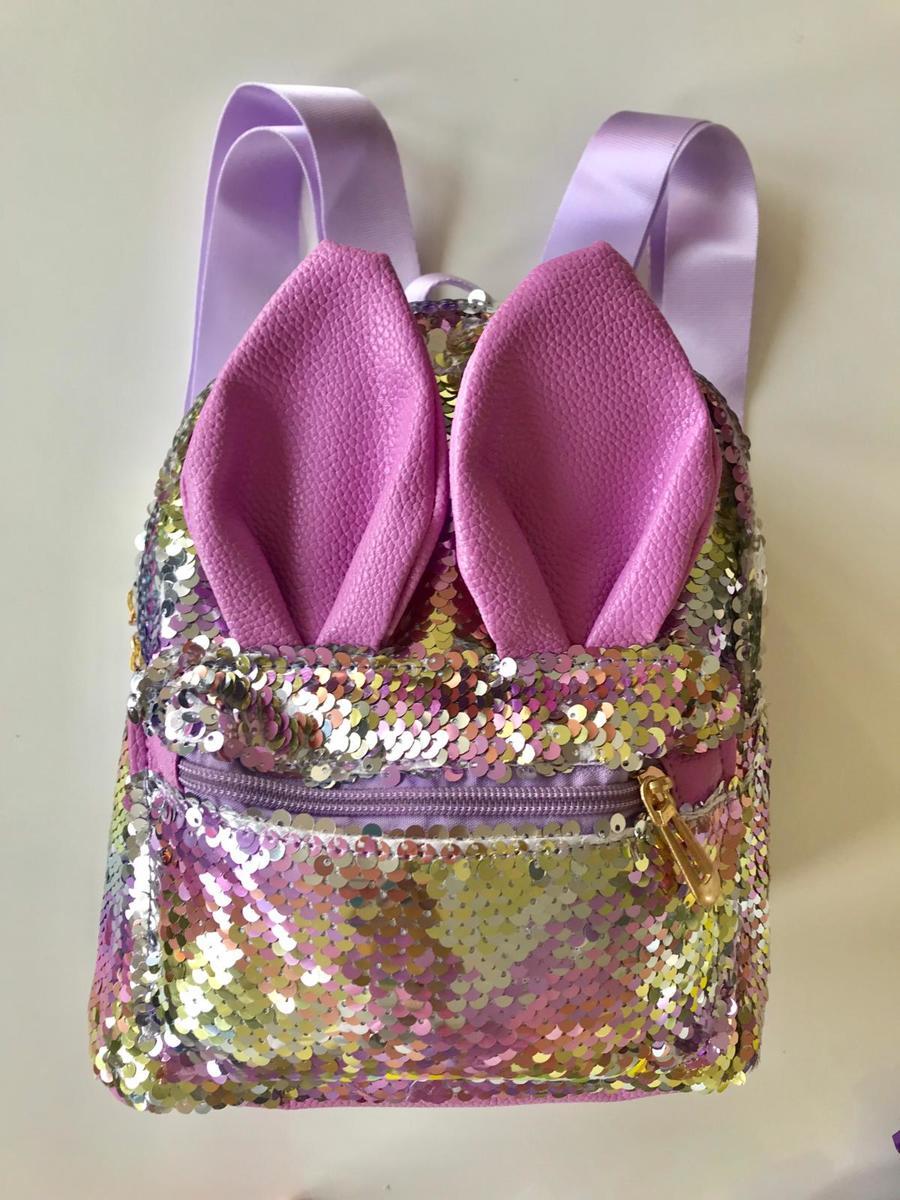 MINII YOU Meisjes rugzak school KLEIN > 25x20x10 cm (LxBxD) | Prachtig Glinsterend Pailletten Rugzak met voorvakje | Meisjes basisschool pailletten